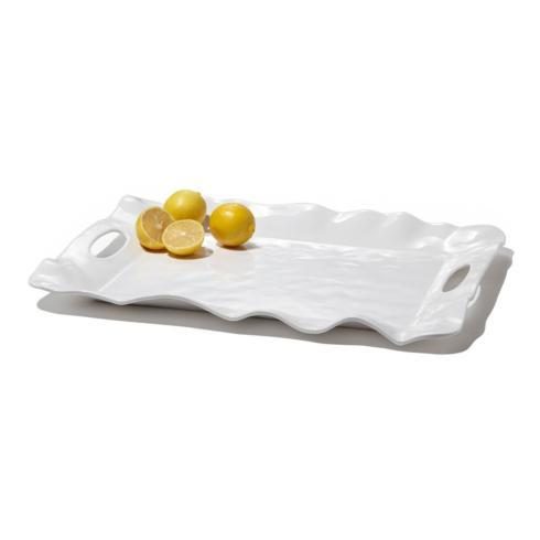 $65.00 Havana Rectangular Tray with Handles White