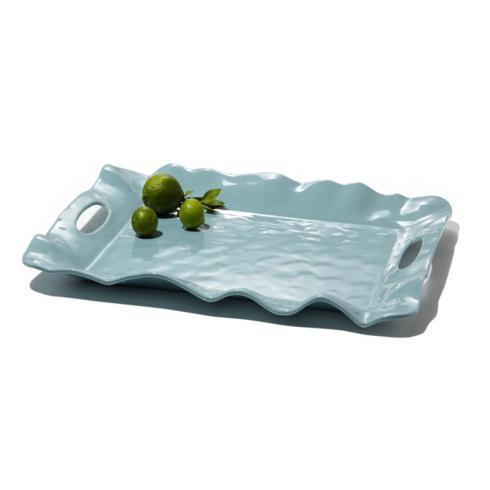 $61.00 Havana rect tray w/handles aqua
