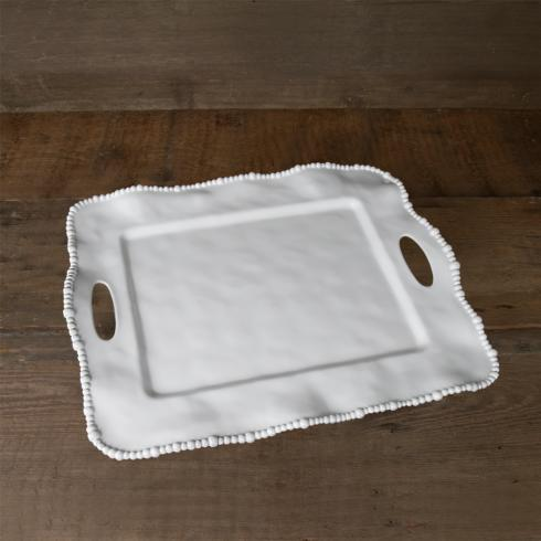 Alegria rect tray w/handles white