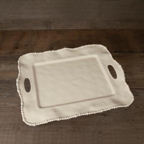 $62.00 Alegria rect tray w/handles butter