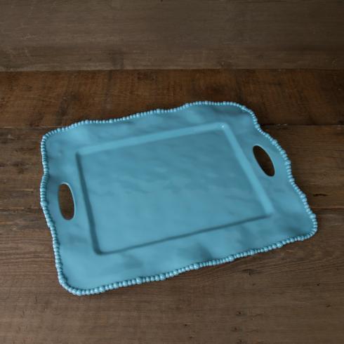 $64.00 Alegria rect tray w/handles blue