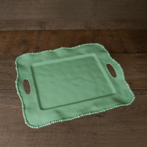 Alegria rect tray w/handles green