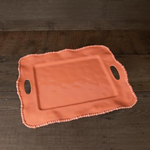 Beatriz Ball  VIDA Alegria rect tray w/handles salmon $62.00