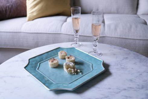 Charleston Sq Platter Blue