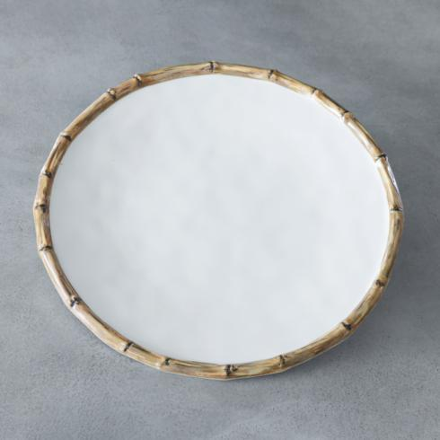"""$21.00 Bamboo 11"""" Dinner Plate (White and Natural)"""