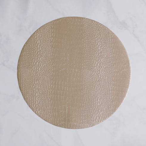 """Croc Reversible 16"""" Round Placemats Set of 4 (Silver and Gold)"""