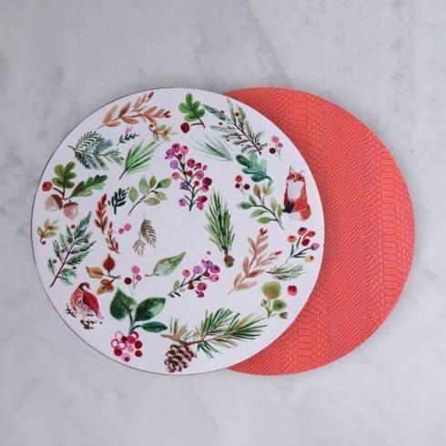 """$52.00 Happy Christmas Reversible 16"""" Round Placemats Set of 4 (White, Red and Multi)"""