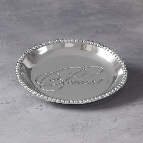 "$39.00 Organic Pearl Round Tray Engraved ""Peace!"""