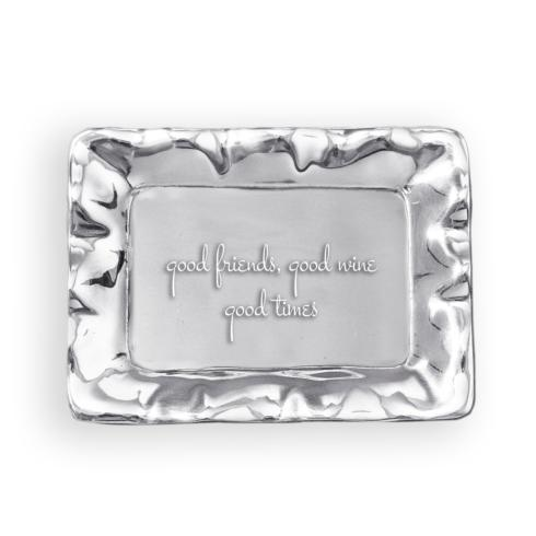 $41.00 Vento Rectangular Engraved Tray - Good Friends, Good Wine, Good Times