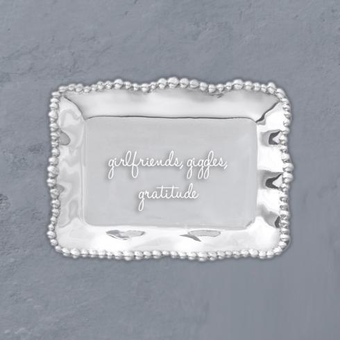 Organic Pearl Rectangular Engraved Tray - Girlfriends, Giggles, Gratitude image