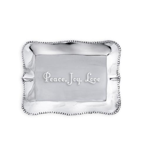 $41.00 Pearl Denisse Rectangular Engraved Tray - Peace, Joy, Love