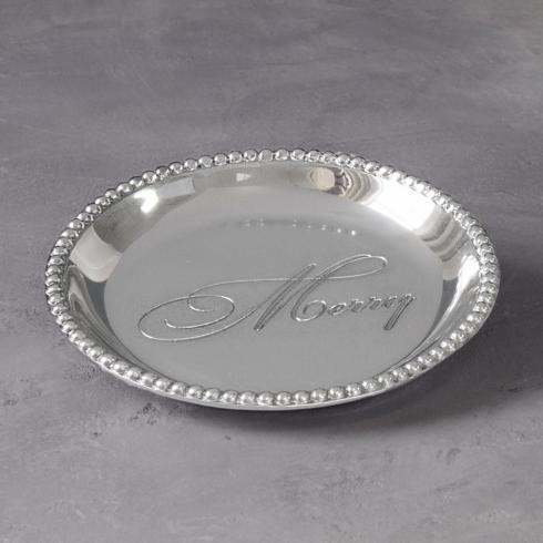 $39.00 Organic Pearl rnd engraved tray- Merry