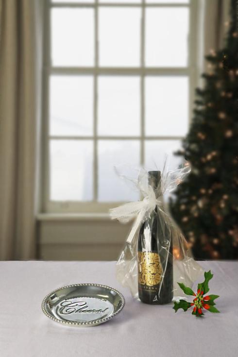 Beatriz Ball  GIFTABLES Organic Pearl rnd engraved tray- Cheers! $39.00