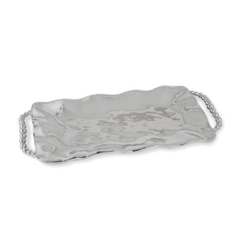 perla long rect tray w/handles