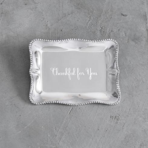 $41.00 Pearl Denisse Rectangular Engraved Tray - Thankful For You