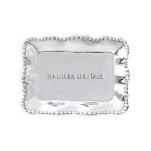 $39.00 Organic Pearl Rectangular Engraved Tray - Life Is Better At The Beach