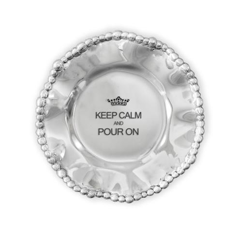 Organic Pearl Wine Plate- Keep Calm And Pour On