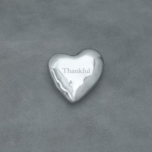 $40.00 GIFTABLES engraved heart paperweight - Thankful