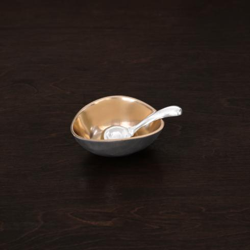 $58.00 Sierra Modern soho salt cellar w/spoon gold