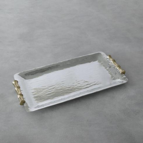 $159.00 Bamboo Long Rectangular Tray with Gold Handles