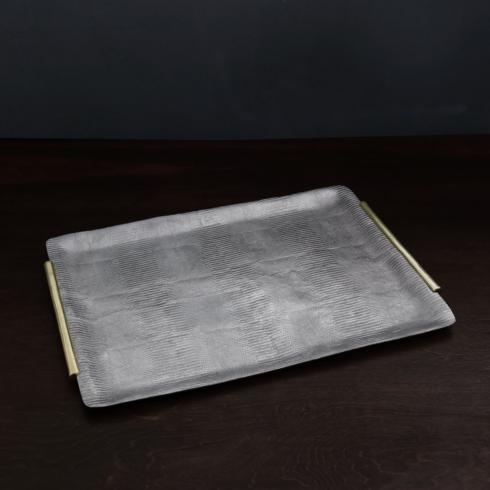 $229.00 Python Extra Large Rectangular Tray with Handles (Gunmetal and Gold)