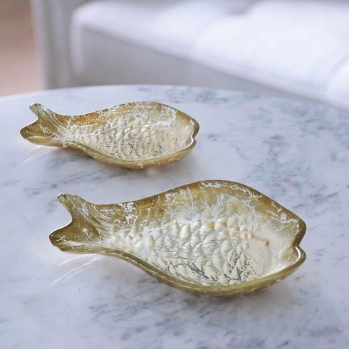 $49.50 Glass 2 Piece Cracked Gold Foil Fish Set
