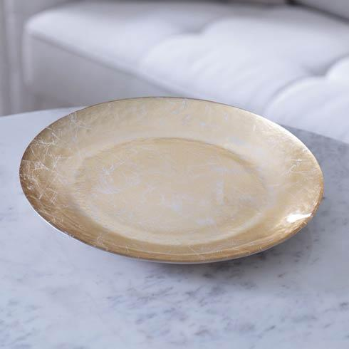 $58.00 Glass Cracked Gold Foil Round Platter