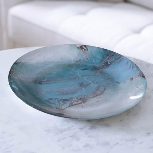 $58.00 Glass Light Teal Silver Foil Round Platter