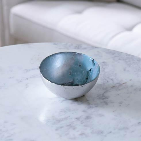 $32.00 Glass Light Teal Silver Foil Small Bowl