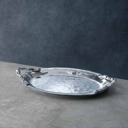 Beatriz Ball  Pearl Denisse Oval Tray with Handles $162.00