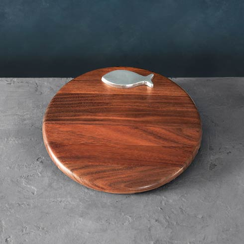 "Carmel Fish 12"" Round Cutting Board"
