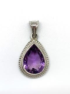 $135.00 Amethyst Cable Pendant Pear Shaped Pendant, SS
