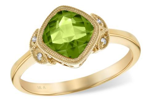 $695.00 1.51ct Peridot accented w/ 0.02tcw Diamond 14ky