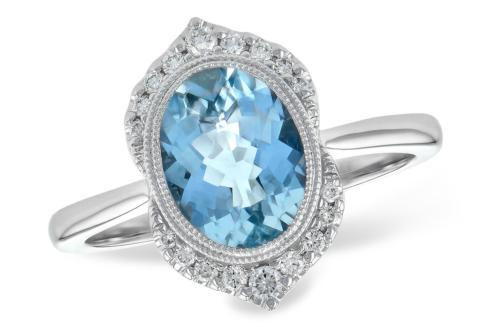 $1,925.00 1.56ct Aquamarine accented w/ 0.14tcw Diamonds 14kw