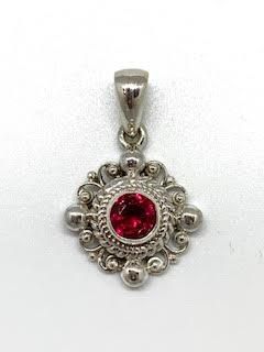 0.97ct Synthetic Ruby Sterling Silver Pendant  collection with 1 products