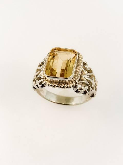 $149.00 Emerald Cut, Citrine Cut-Out Filagree Ring, SS