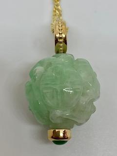 Antique Jadeite Globe w/Fine Jadeite Accent 14ky