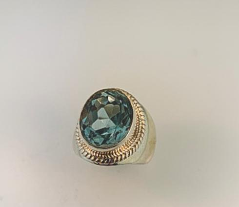 Blue Topaz, Cable Ring, SS