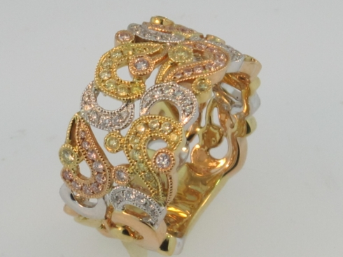 Diamond Fashion Ring Tri Tone Diamonds and Gold