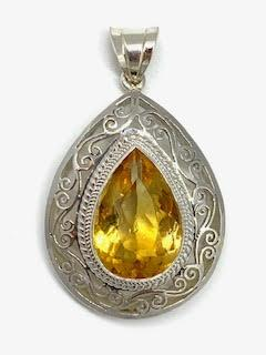 $495.00 Large Pear Shaped Citrine Filagree Pendant