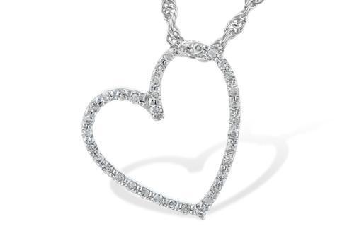 "0.10tcw Diamond Heart Pendant & 18"" Chain 14kw"