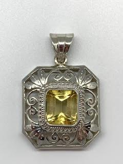 4.17ct Citrine Filigree Sterling Silver Pendant collection with 1 products