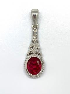 3.10ct Synthetic Ruby Flower Pendant, SS