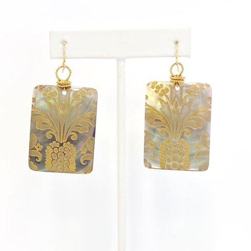 $145.00 Square Etched Mother of Pearl Earrings