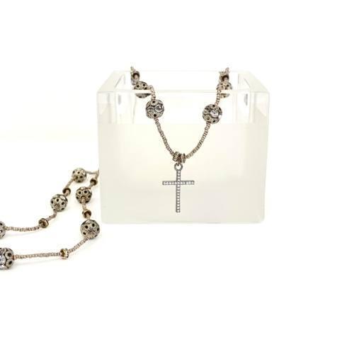 $248.00 Rhinestone Balls on Silver Heishi Chain with Cubic Zirconia Cross
