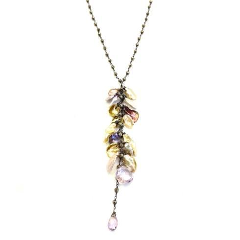 $248.00 Multicolor Keishi Pearl Cluster on Pyrite Chain
