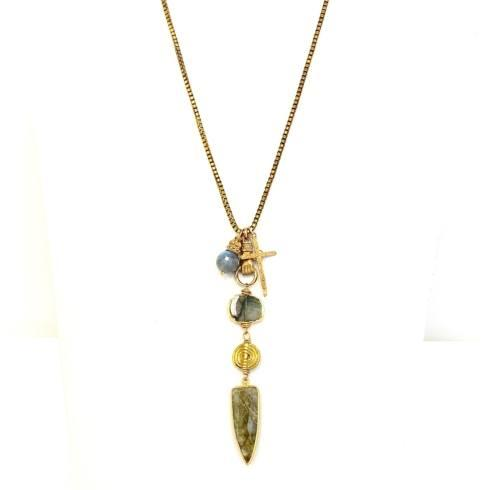 $189.00 Vintage Chain Hand Holding Labradorite Swirl Bead with Cross and Crown