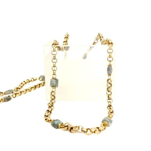 $245.00 Labradorite Squares and Vintage Rolo Chain Necklace