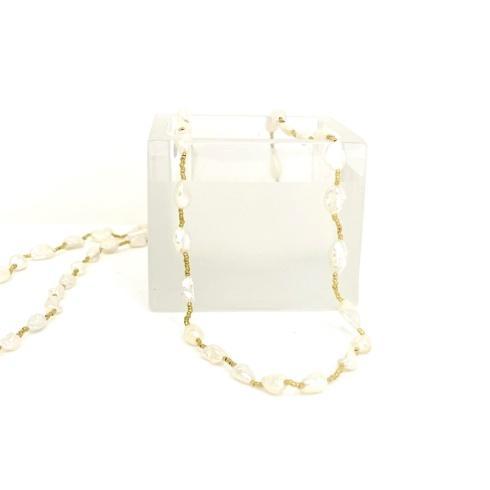 $148.00 White Keishi Pearls on Gold Heishi Beads