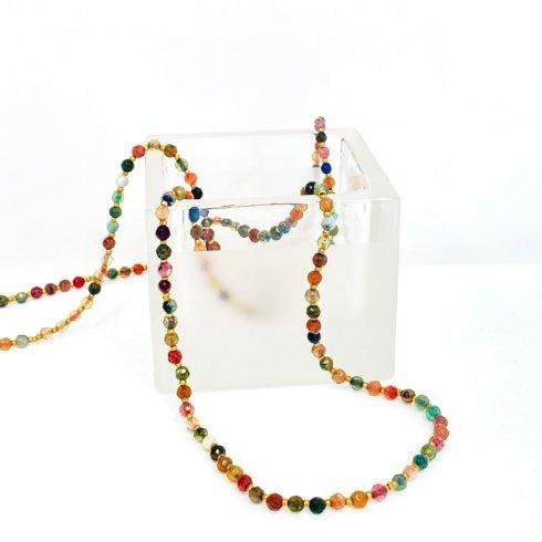 $128.00 Multicolored Gemstones with Tiny Gold Heishi Necklace